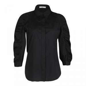 Prada Black Ruched Long Sleeve Blouse M