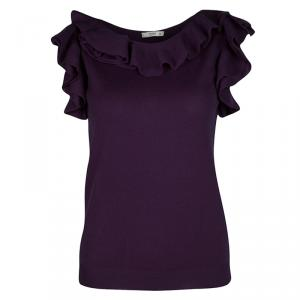 Prada Purple Wool Ruffle Detail Sleeveless Top M