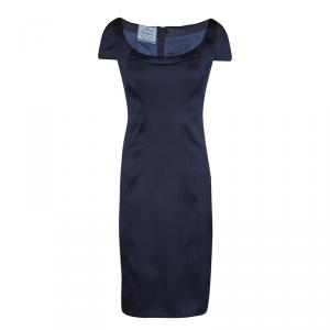 Prada Navy Blue Satin Cap Sleeve Fitted Sheath Dress L