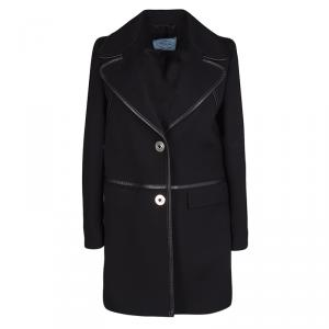 Prada Black Wool Leather Trim Coat S