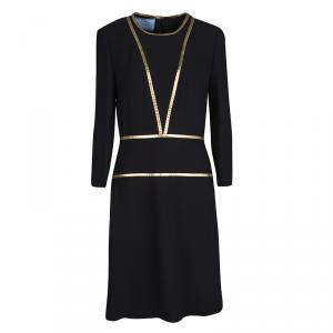 Prada Black Contrast Gold Leather Trim Long Sleeve Dress M