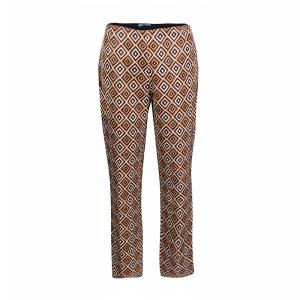 Prada Multicolor Diamond Print Silk And Wool Blend Cropped Pants M