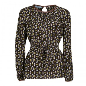 Prada Multicolor Printed Silk Leather Trim Long Sleeve Belted Blouse M