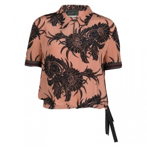 Prada Peach Tropical Floral Printed Silk Crop Top L