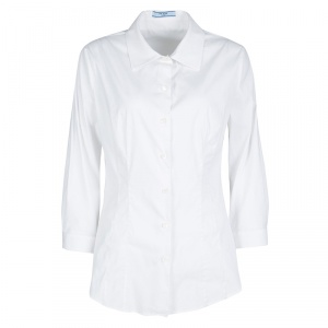 Prada White Cotton Long Sleeve Button Front Shirt L