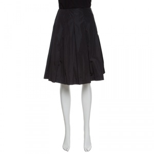Prada Black Pleated A Line Skirt M