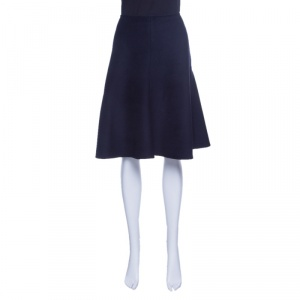 Prada Navy Blue Angora Wool A-Line Skirt S
