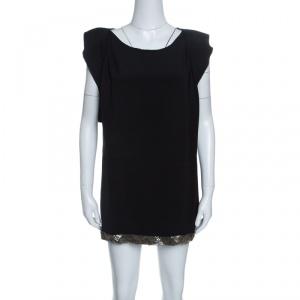Prada Black Embellished Hem Ruffled Sleeve Dress M - used