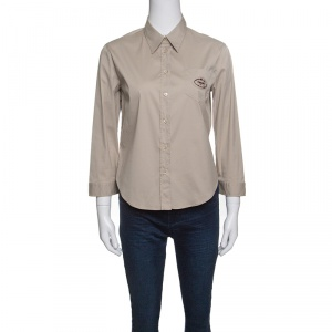 Prada Beige Long Sleeve Button Front Shirt M