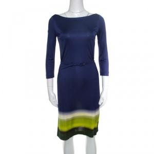 Prada Multicolor Silk Jersey Long Sleeve Belted Dress S - used