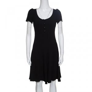 Prada Black Crepe Paneled Dress S - used