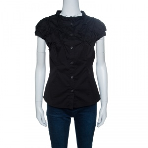 Prada Black Smocked Cotton Cap Sleeve Button Front Top S