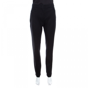 Prada Black Wool Leather Piping Detail Straight Trousers L