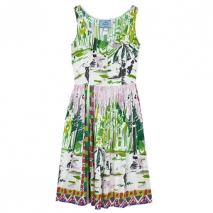 Prada Le Voyageur 2012 Postcard Print Cotton Dress S