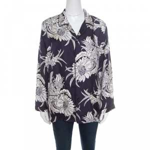 Prada Navy Blue Tropical Floral Printed Silk Button Front Pyjama Shirt XL