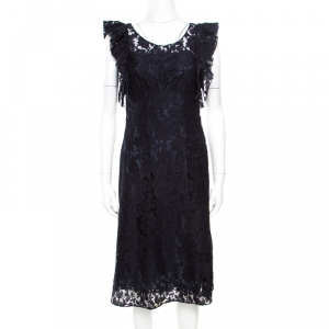 Prada Navy Blue Floral Lace Ruffled Sleeveless Dress S