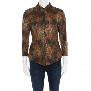 Prada Brown Python Leather Button Front Long Sleeve Shirt M