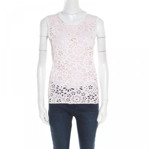 Prada White and Pink Eyelet Floral Embroidered Sleeveless Top S