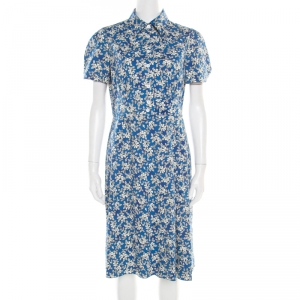 Prada Shaded Blue Floral Print Stretch Cotton Shirt Dress M