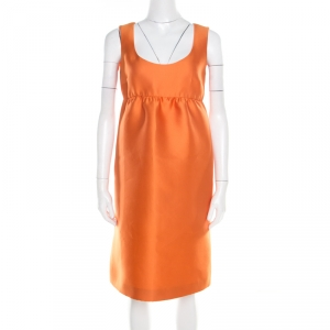 Prada Orange Silk Blend Gathered Empire Waist Sleeveless Dress S