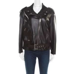 Prada Matte Black Nappa Leather Giacca Biker Jacket S
