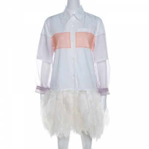 Prada White Cotton Feather-Embellished Shirt Dress S