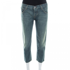 Prada Indigo Light Wash Denim Distressed Cropped Jeans M