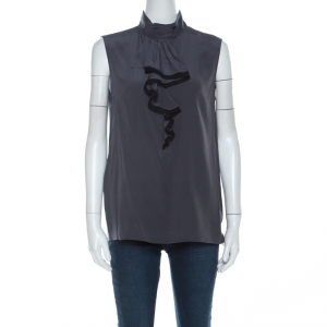 Prada Charcoal Grey Silk Crepe de Chine Ruffled Trim Sleeveless Top S