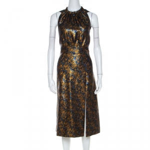 Prada Gold Floral Brocade Halter Midi Dress M