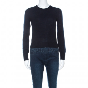 Prada Navy Blue Wool & Cashmere Knit Sweater S - used