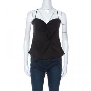 Prada Black Jersey Ruffle Front Camisole L