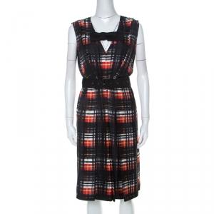 Prada Black and Red Plaid Printed Silk Sleeveless Belted Dress M - used
