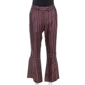 Prada Purple and Brown Printed Silk Flared Trousers M