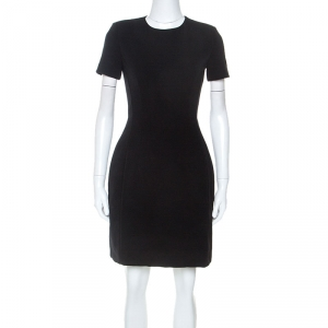 Prada Black Crepe Short Sleeve Dress S