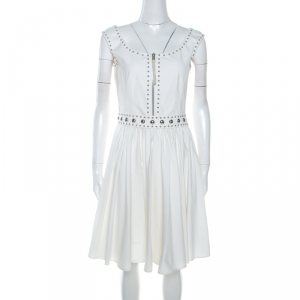 Prada Off White Crepe Stud Detail Sleeveless Dress M
