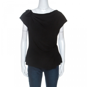Prada Black Crepe Draped Detail Top L