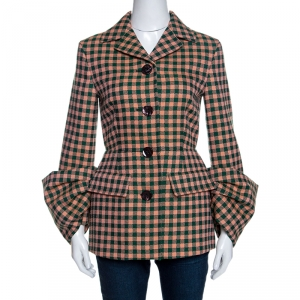 Prada Bicolor Checked Wool Exaggerated Sleeve Detail  Blazer S