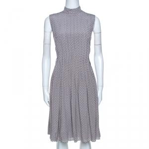 Prada Grey and Mauve Geometric Printed Silk Pleated Dress M - used