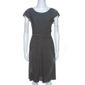 Prada Black and White Crepe Illusion Stripe Butterfly Sleeve Dress M - used