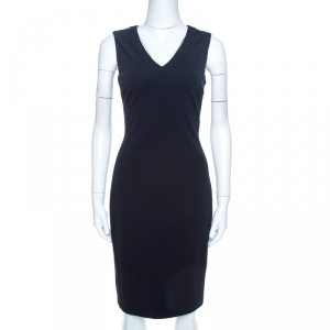 Prada Navy Blue Crepe Knit Sleeveless Sheath Dress M