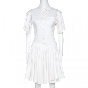 Prada Off White Stretch Cotton Pleated Shirt Dress S