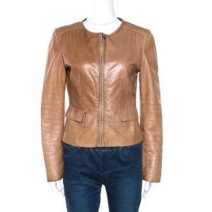 Prada Beige Leather Gathered Zip Front Jacket M