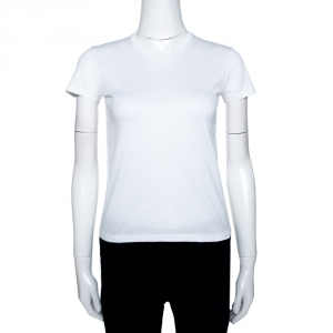 Prada White Cotton Crew Neck T-Shirt XS