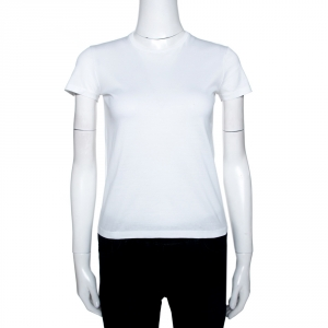 Prada White Cotton Crew Neck Short Sleeve T-Shirt XS