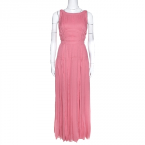 Prada Pink Silk Chiffon Pleated Sleeveless Maxi Dress S