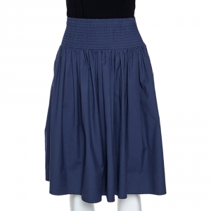 Prada Navy Blue Cotton Elasticized Waist Midi Skirt S