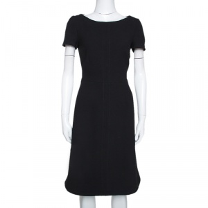 Prada Black Wool Crepe Short Sleeve Sheath Dress M
