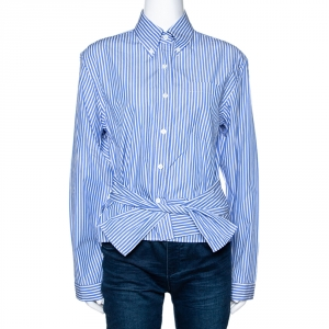 Prada Blue Striped Cotton Wrap Front Tie Detail Shirt S