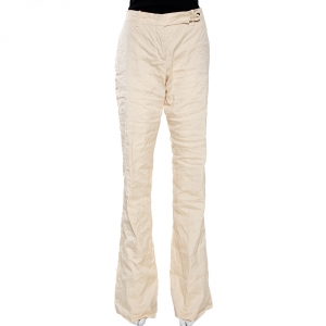 Prada Cream Cotton Blend Flared Trousers L