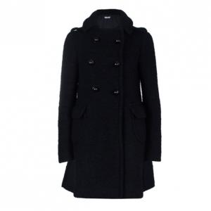 Prada Black Double Breasted Long Wool Coat S